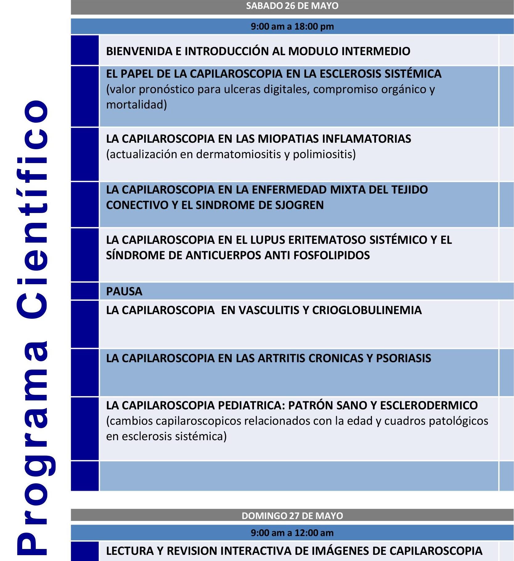 Curso de Capilaroscopia en Reumatología (Módulo Intermedio